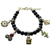 Gold Overlay Casino Glass Charm Bracelet