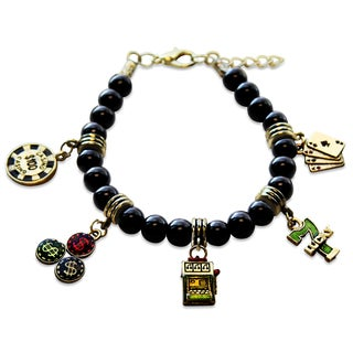 Gold Overlay Casino Glass Charm Bracelet