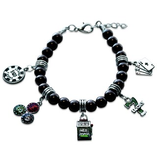 Sterling Silver Casino Glass Charm Bracelet