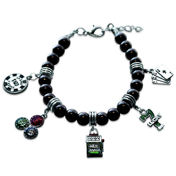 Sterling Silver Casino Glass Charm Bracelet