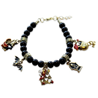 Gold Overlay Halloween Glass Charm Bracelet