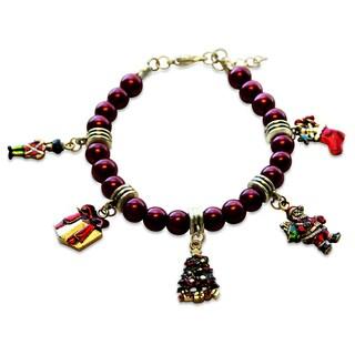 Gold Overlay Christmas Glass Charm Bracelet