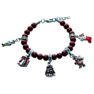 Sterling Silver Christmas Glass Charm Bracelet