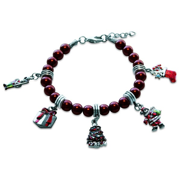 Sterling silver christmas glass charm bracelet free