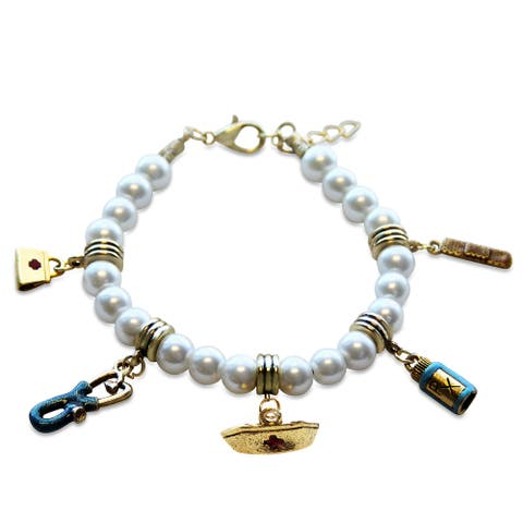 Gold Overlay Nurse Glass Charm Bracelet