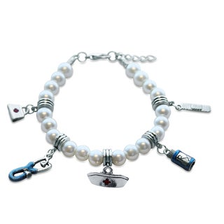 Sterling Silver Nurse Glass Charm Bracelet