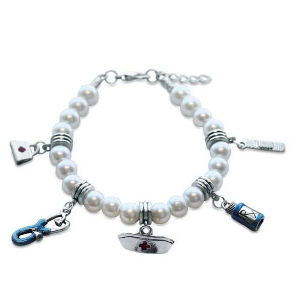 Sterling Silver Nurse Glass Charm Bracelet