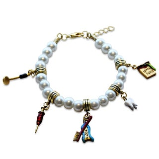 Gold Overlay Dental Assistant Glass Charm Bracelet