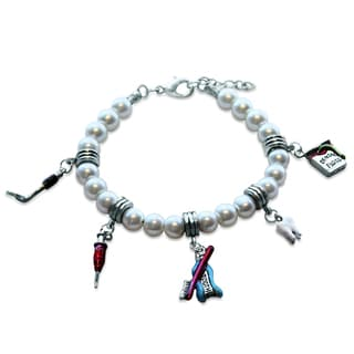 Sterling Silver Dental Assistant Glass Charm Bracelet