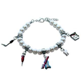 Sterling Silver Dental Assistant Glass Charm Bracelet