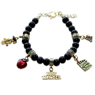 Gold Overlay Teacher Glass Charm Bracelet