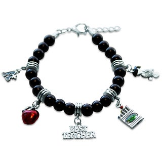 Sterling Silver Teacher Glass Charm Bracelet