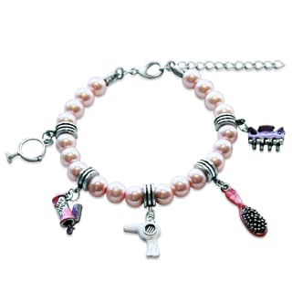 Sterling Silver Beautician Glass Charm Bracelet