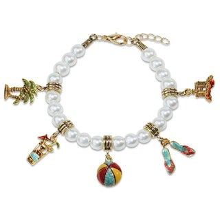 Gold Overlay Summer Fun in the Sun Glass Charm Bracelet