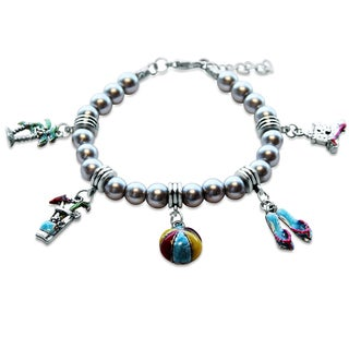 Sterling Silver Summer Fun in The Sun Glass Charm Bracelet