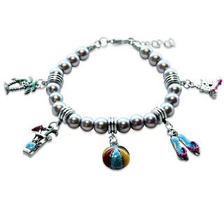 Sterling Silver Summer Fun in The Sun Glass Charm Bracelet