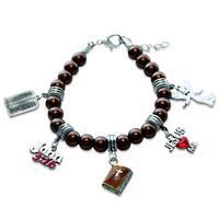 Sterling Silver Religious Glass Charm Bracelet