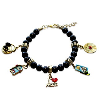 Gold Overlay Music Glass Charm Bracelet