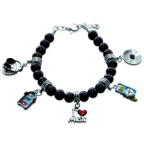 Sterling Silver Music Glass Charm Bracelet