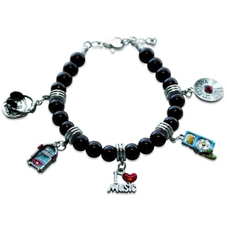 Sterling Silver Music Glass Charm Bracelet