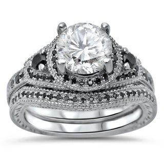 Noori 14k White Gold Moissanite and 1/3 TDW Black Diamond Engagement Ring Set (5 options available)