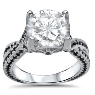 Noori 14k White Gold Moissanite and 4/5ct TDW Black Diamond Engagement Ring