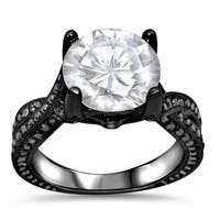 Noori 14k Black Rhodium-plated Gold Moissanite and 4/5 TDW Black Diamond Engagement Ring