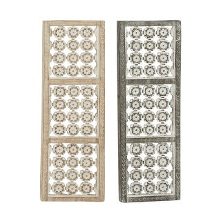 Wooden Metal Wall Panel (Set of 2)