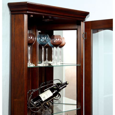 Furniture of America Jora Traditional Walnut Solid Wood Curio Cabinet