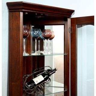 Furniture of America Jora Traditional Walnut Corner Curio Cabinet