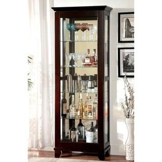 Furniture of America Lawson Dark Walnut Glass Curio Cabinet