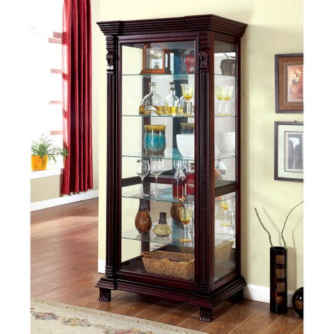 Furniture of America Quir Traditional Brown Solid Wood Curio Cabinet
