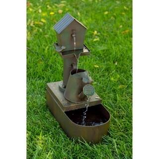 Birdhouse into Watercan Floor Fountain