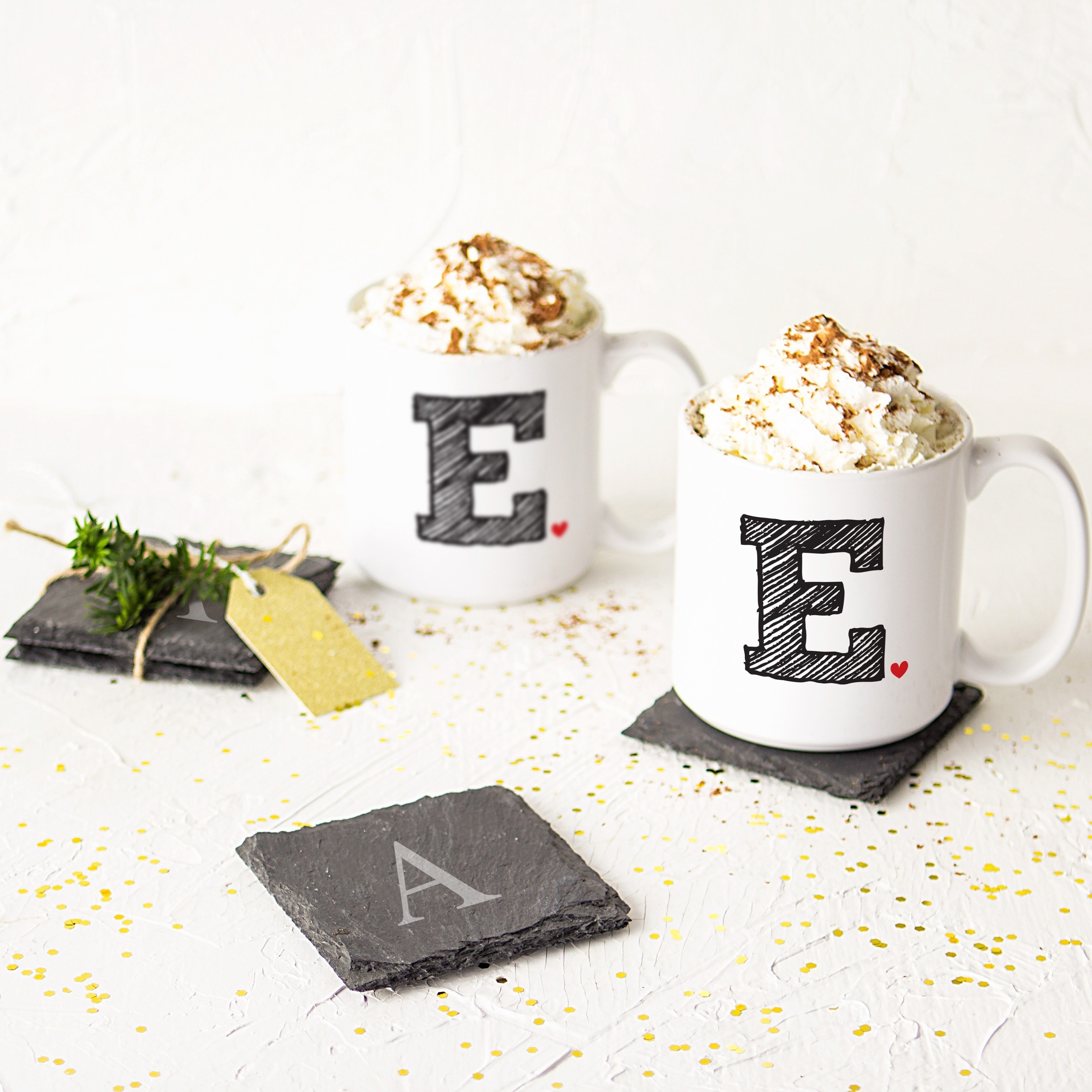 Personalized Initial Large Coffee Mugs Set Of 2