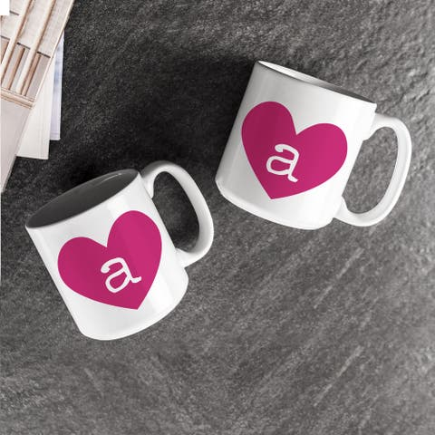 Personalized Heart of Love Large Coffee Mugs (Set of 2)