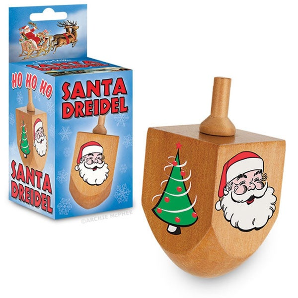 Christmas Hanukkah Santa Dreidel Top