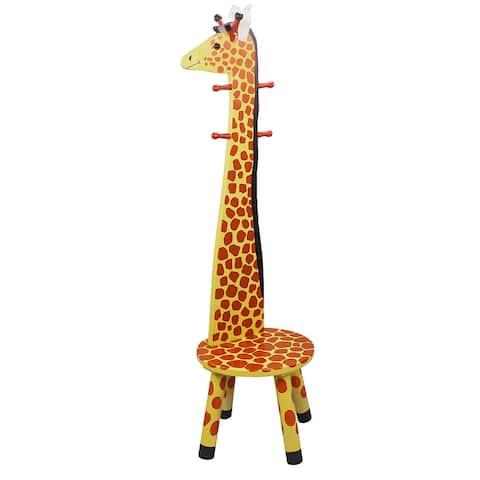 Teamson Kids- Safari Stool w/Coat Rack - Giraffe