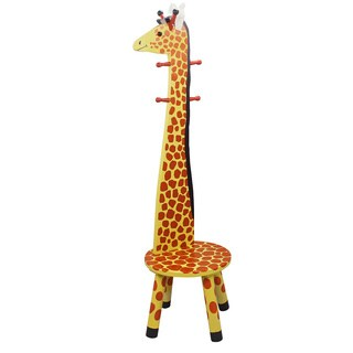 Teamson Kids- Safari Stool w/Coat Rack - Giraffe