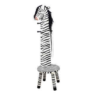 Teamson Kids- Safari Stool with Coat Rack - Zebra
