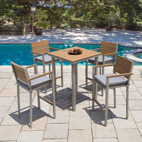 Corvus Jasmine Outdoor 5 Piece Bar Set With Sunbrella Cushions