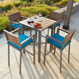 Corvus Jasmine Outdoor Bar Set with Sunbrella Fabric Cushions