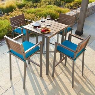 Corvus Jasmine Outdoor 5 Piece Aluminum Bar Set With Sunbrella Fabric  Cushions