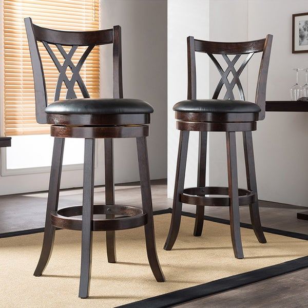 Shop Traditional Dark Brown Wood 29 Quot Bar Stool By Baxton