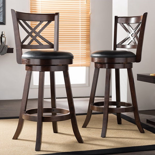 shop traditional dark brown wood 29 bar stool by baxton studio free shipping today. Black Bedroom Furniture Sets. Home Design Ideas