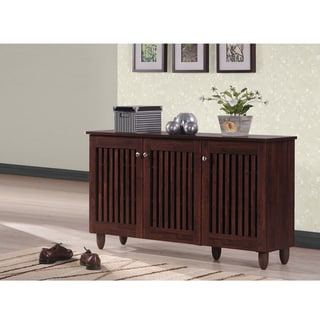 Baxton Studio Riddle Dark Brown Shoe Cabinet With 3 Doors
