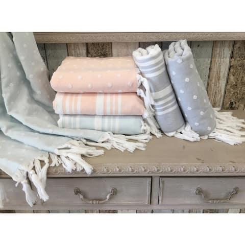 Authentic Anatolia Stripes and Dots Turkish Cotton Terry Pestemal Fouta Bath and Beach Towel