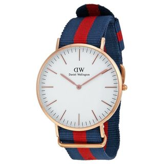 Daniel Wellington Men's 0101DW 'Oxford' Blue and Red Nylon Watch