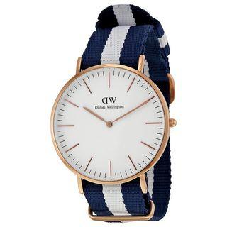 Daniel Wellington Men's 0104DW 'Glasgow' Blue and White Nylon Watch