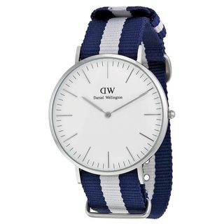 Daniel Wellington Men's 0204DW 'Glasgow' Blue and White Nylon Watch