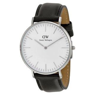 Daniel Wellington Men's 0206DW 'Sheffield' Black Leather Watch